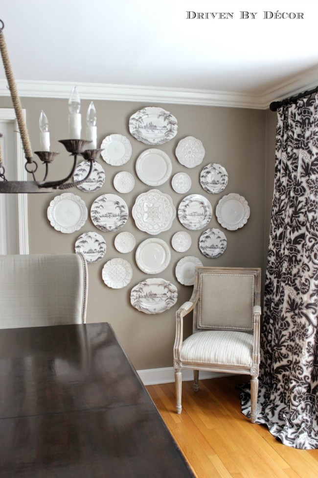 Hanging Plates On Wall Dining Room With Table Wm