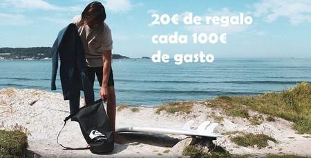 20 euros de regalo en Quiksilver, Roxy y DC Shoes por cada 100 euros de compra