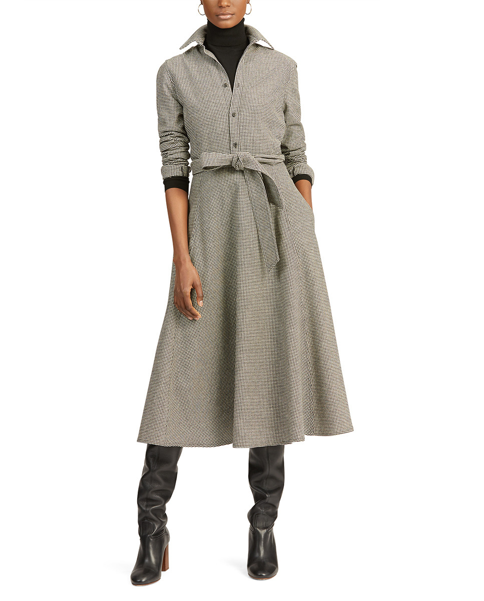 Vestido pata de gallo de mujer estilo camisero