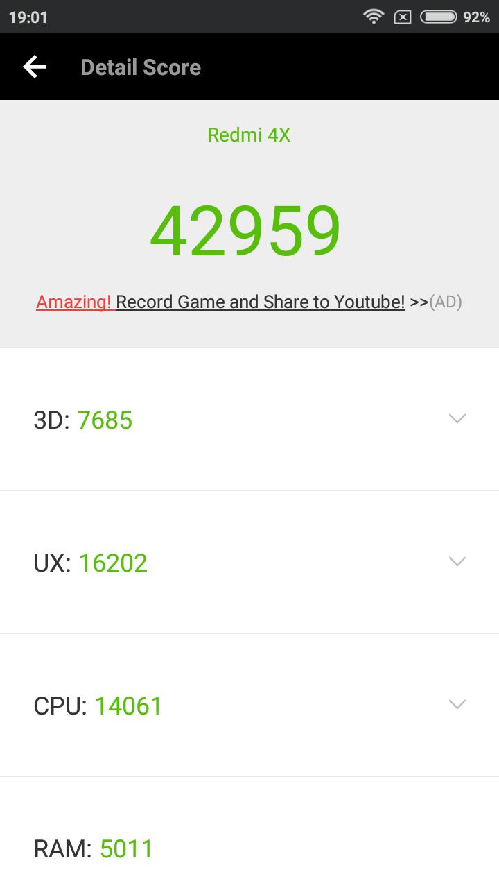 Benchmarks Xiaomi Redmi 4X