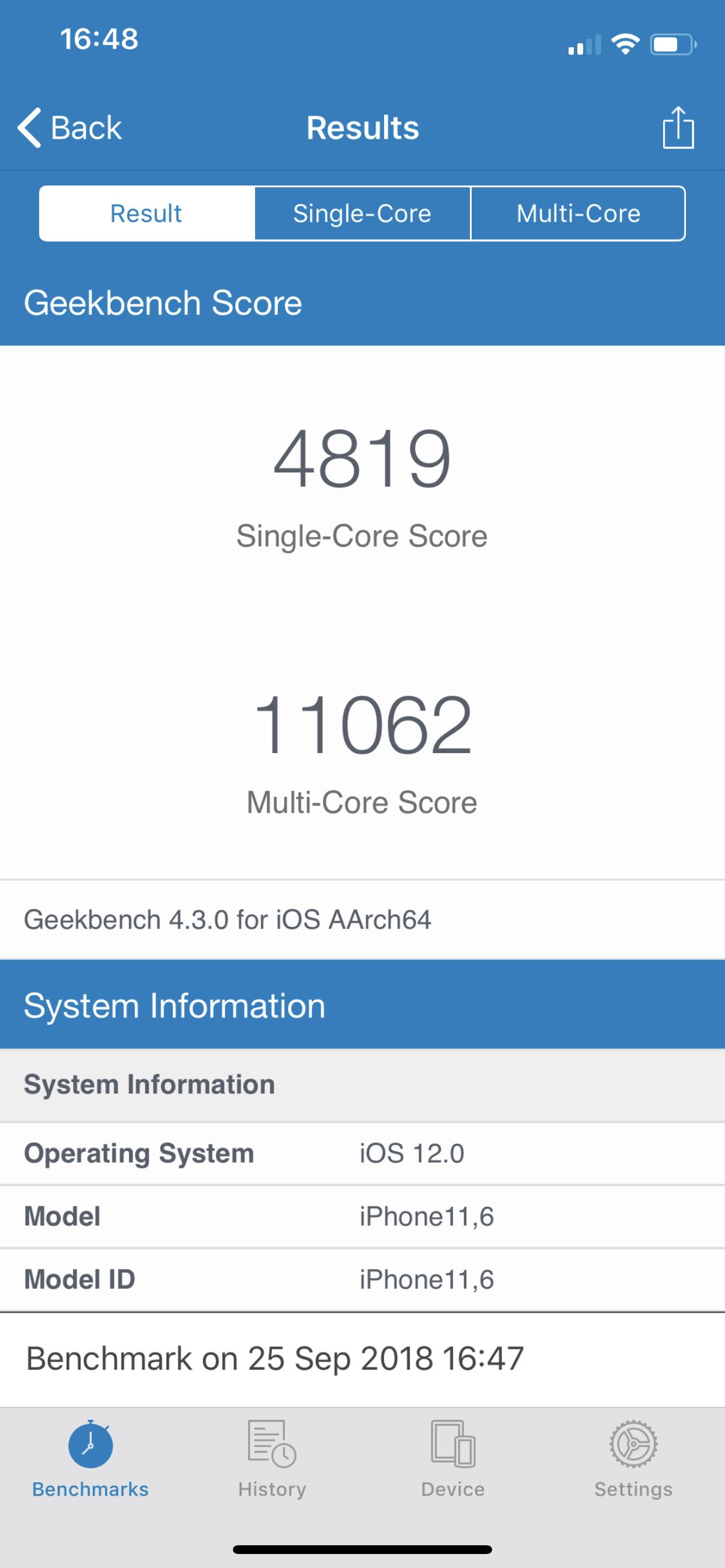 Benchmarks iPhone XS Max
