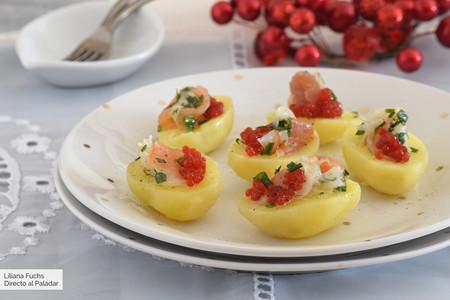 Pinchos de patata con ahumados marinados: receta para un aperitivo fácil y ligero para Navidad