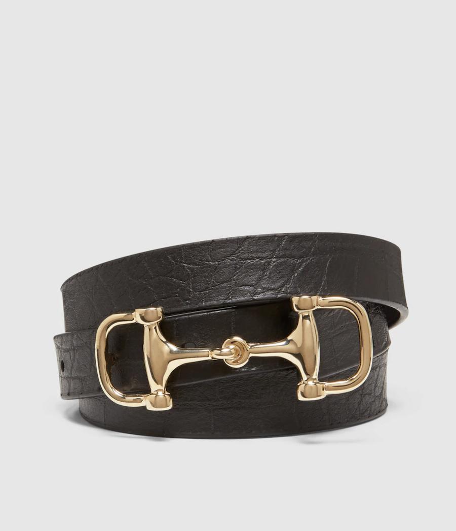 Cinturón fino de mujer El Corte Inglés de piel en negro con hebilla eslabón