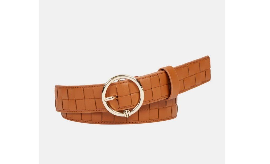 Cinturón de mujer Tommy Hilfiger de piel trenzada en marrón