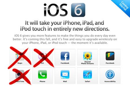 Algunas de las nuevas características de iOS 6 no están soportadas por todos los dispositivos