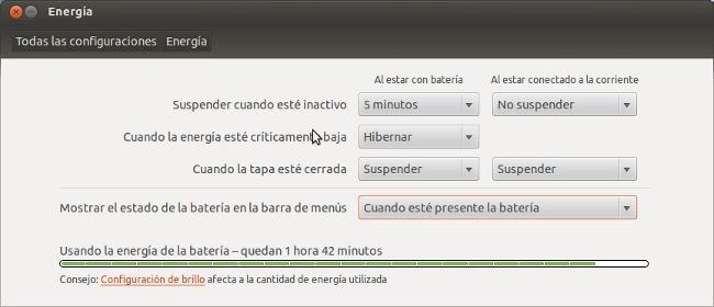 Gestión de la batería de Ubuntu