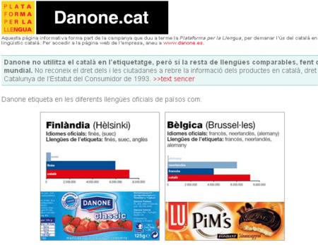 Campaña solicitando el etiquetado de Danone en catalán