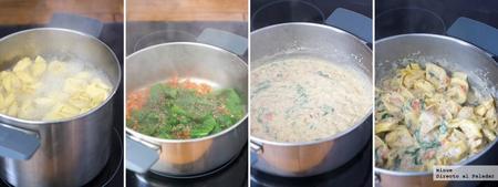 Tortellini con salsa de tomates y espinacas