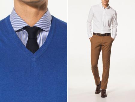 Jersey cuello pico pantalon chino Massimo Dutti