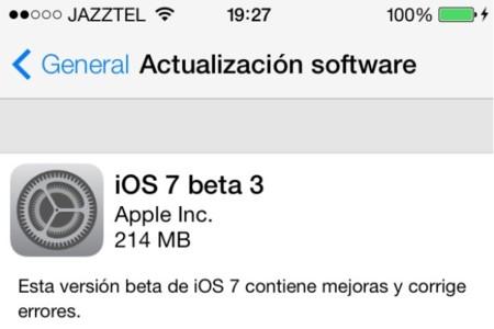 Beta 3 de iOS 7 ya disponible en la sección para desarrolladores y vía OTA