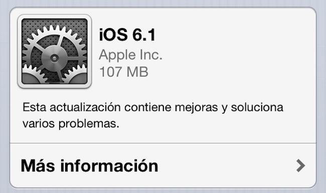 iOS 61 actualización