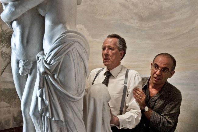 Rush y Giuseppe Tornatore durante el rodaje del film