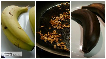 Plátanos asados con ron y almendras
