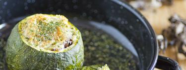 Calabacines rellenos de jamón serrano y setas. Receta