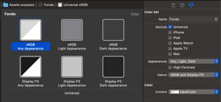Un ejemplo de color preparado para modo oscuro