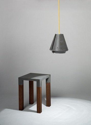 lámpara mesa cemento