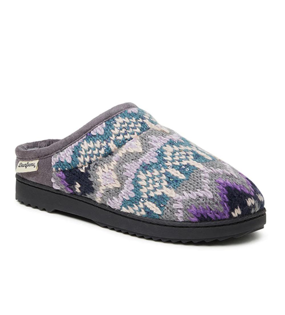 Zapatillas de casa de mujer Dearfoams de color gris con memory foam