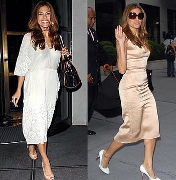 Eva Mendes solo viste de Calvin Klein