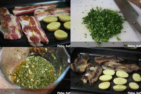 Receta de churrasco asado con chimichurri de cilantro. Pasos