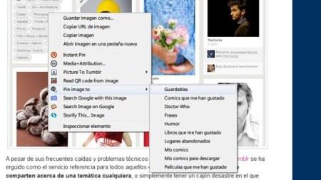 Quick Pinterest: del menú contextual a vuestros tableros
