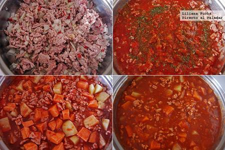 Chili de pavo con boniato y patata. Pasos de la receta