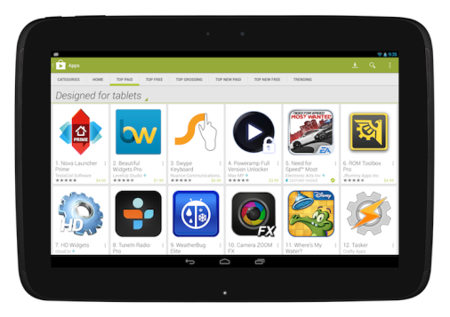 Google Play por fin hace fácil encontrar apps para tablets