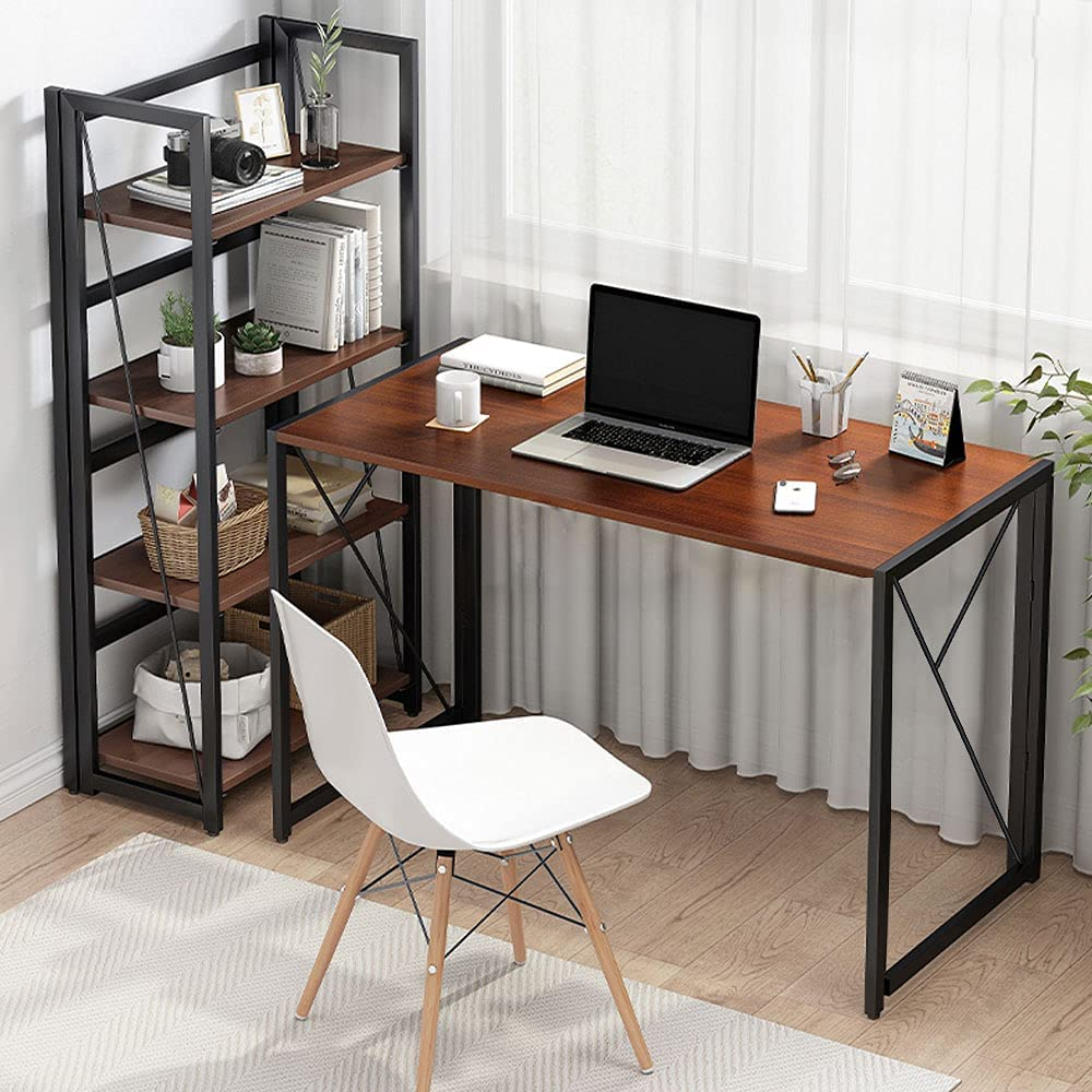 COMHOMA Mesa Escritorio Plegable para el Ordenador, Mesa Industrial de Estilo Moderno y Sencillo para Estudio Oficina (Brown)