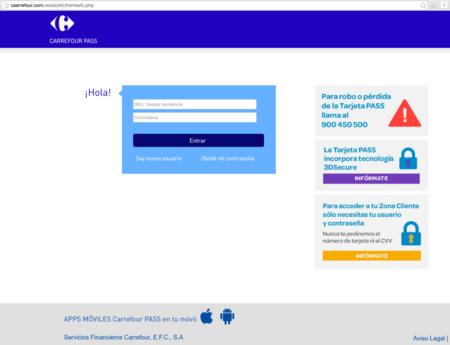 Web a la que dirige el link del SMS