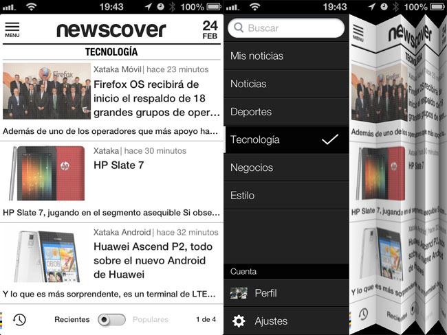 Pantallazo de Newscover en el iPhone