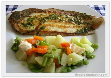 Lenguado meunière con menestra de verduras. Receta
