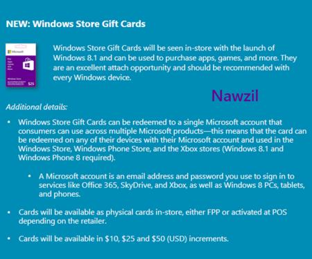 Las tarjetas de regalo de Microsoft se lanzarían junto con Windows 8.1