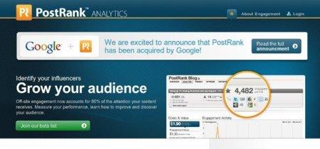 Google compra PostRank, un servicio de estadísticas con énfasis en la web social