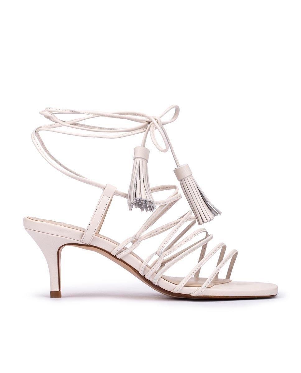Sandalias de tacón de mujer Martinelli de piel con tiras en color blanco