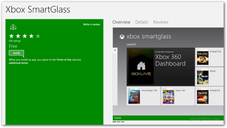 Smartglass aplicación Windows 8