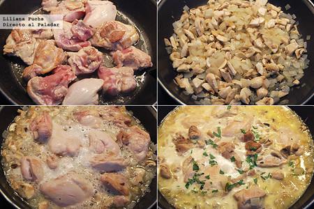 Pollo en salsa de cava y estragón. Receta