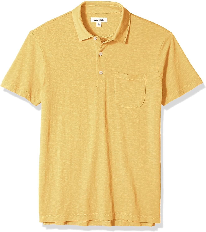 Marca Amazon - Goodthreads Short-Sleeve Striped Slub Polo Hombre