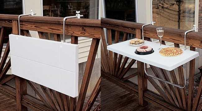 Mesa plegable para colocar en una barandilla - Mesa plegable pequena ...
