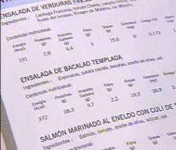 Cartas de restaurante con información nutricional