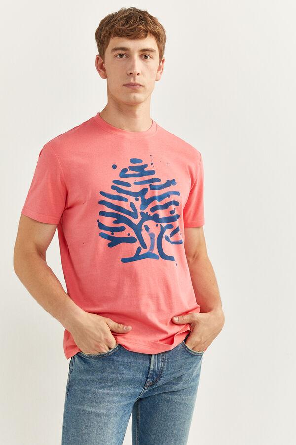 Camiseta con estampado de logo en acuarela