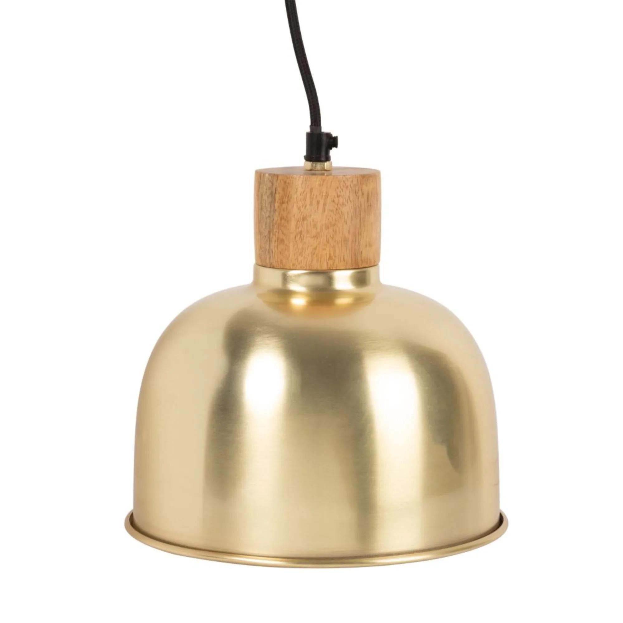 Lámpara de techo de metal dorado y mango.