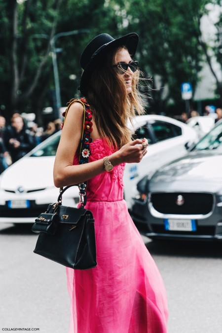 Mfw Milan Fashion Week Spring Summer 2016 Street Style Say Cheese Chiara Ferragni Pink Dress Bandeau Hat 790x1185
