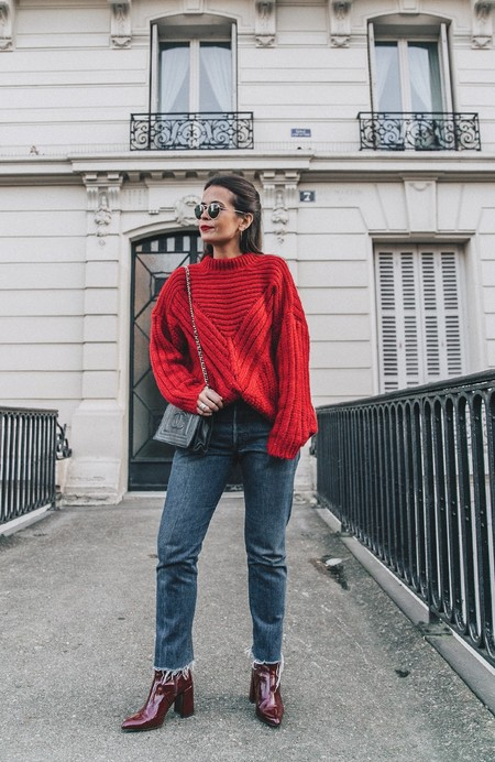 Red Knitwear Levis Jeans Red Boots Outfit Street Style Levis Vintage 11