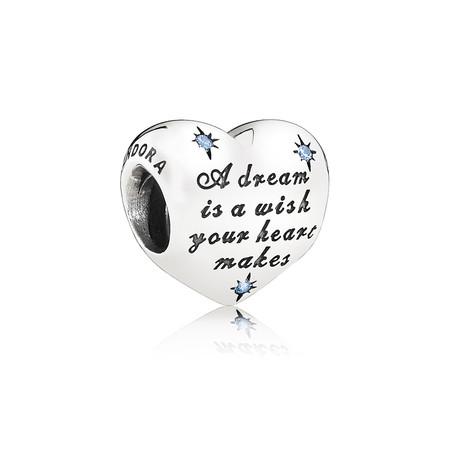 Pandora Sueno De Cenicienta Charm En Plata De Primera Ley Con Circonitas Cubicas Azules Y Grabado A Dream Is A Wish Your Heart Makes 49eur