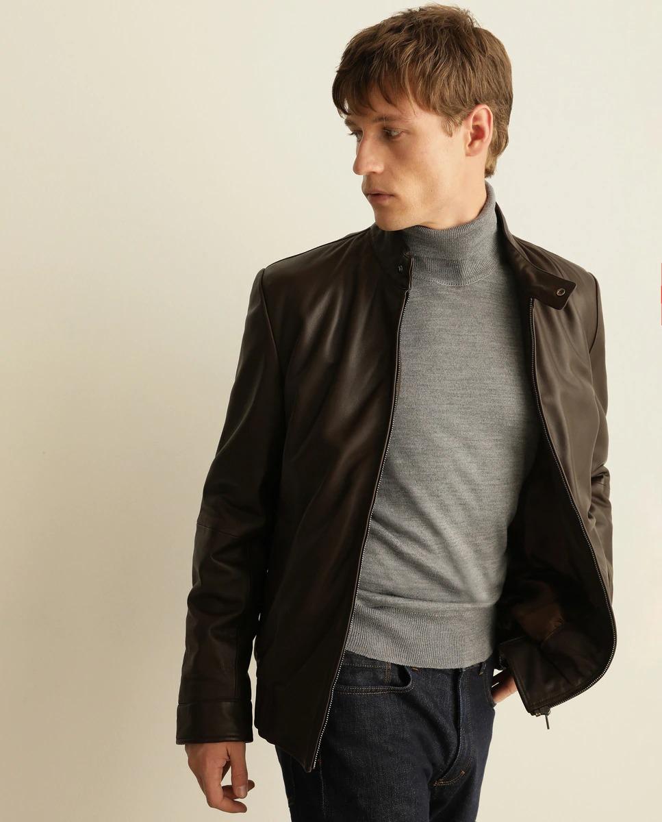 Cazadora de napa de hombre marrón con dos bolsillos