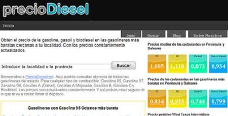 PrecioDiesel: web con las gasolineras más baratas de España