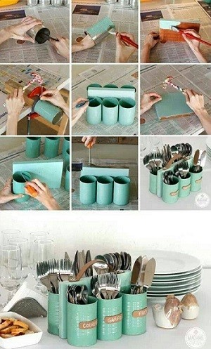 Una idea para reciclar latas de conserva y ordenar nuestros cubiertos