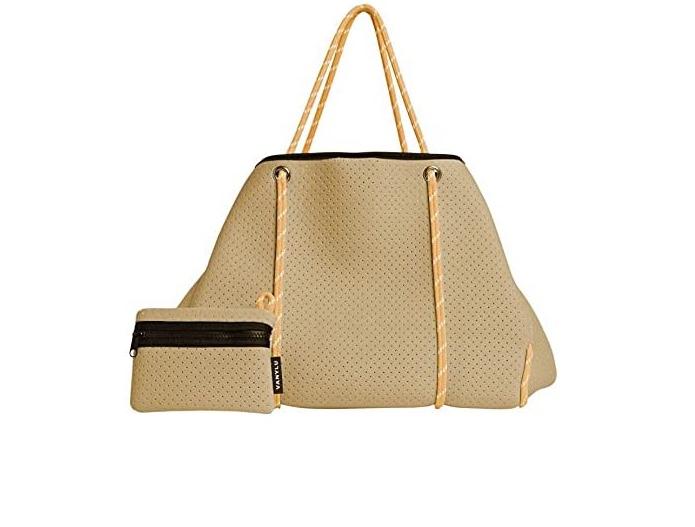 VANYLU Bolso Mujer Shopper Classic de Neopreno. Bolso Tote Grande de Tela Impermeable para Uso Casual. Tote Bag Clásico de Cuerdas con Cierre Magnético.