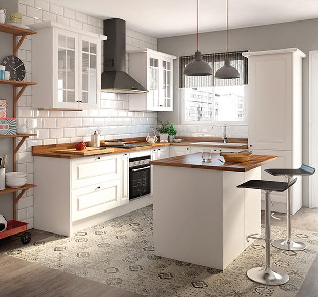 Una cocina luminosa y actual los muebles blancos son for Encimera cocina bricomart