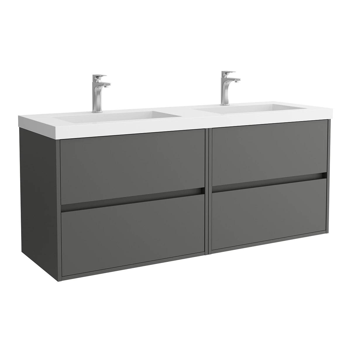 Mueble de baño doble con 4 cajones y lavabo mineral Noja Salgar