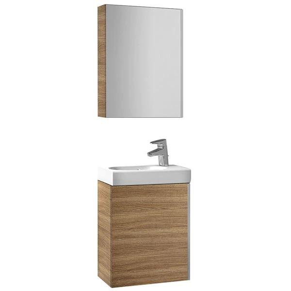 Conjunto de baño de mueble armario con lavabo y armario con espejo Mini Roca